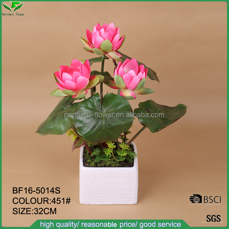 table centerpiece artificial flowers factory,decoration lotus water lily flowers with ceramic pot