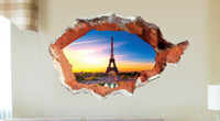 AY8013 3D window effect The Eiffel Tower Household adornment Wall Sticker