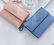 Lady Short Women Wallets Mini Money Purses Fold PU Leather Bags Female Coin Purse Card Holder
