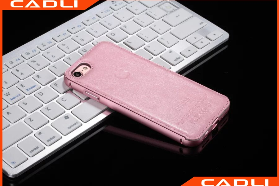 Trending Products Imitate Phone Picture Aluminum Frame Leather Mobile Phone Case For iPhone 7 7 Plus