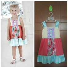 2016 summer boutique kids clothes girl dress stripe frock designs