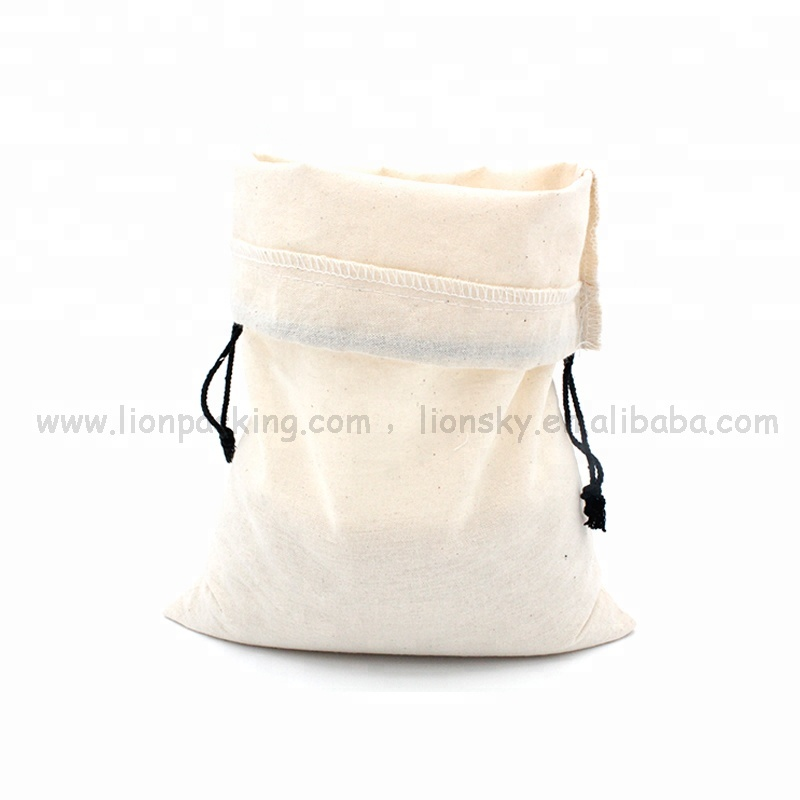 Cheap Price Wholesale organic muslin cotton canvas flour drawstring bag