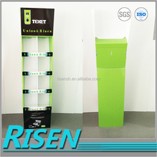 RISEN foldable reclyed 8 merchandising cells innovative tiered display stand for promotion
