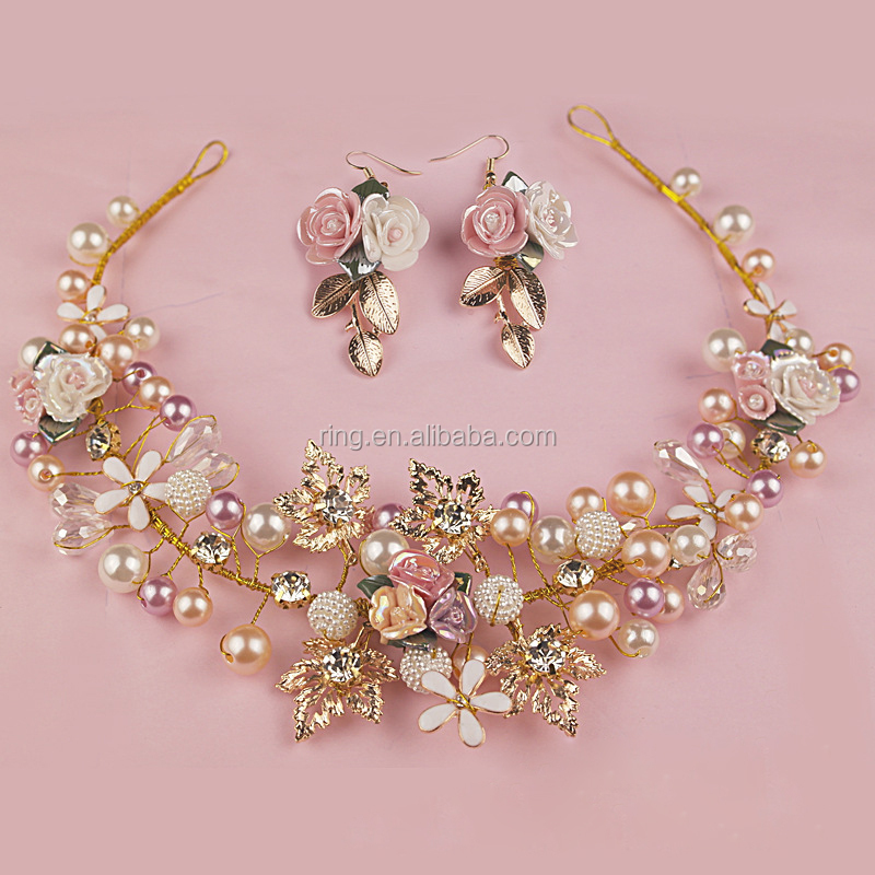 Fancy Handmade Gold Leaf & Flower Pearls Wired Hair Crown and tiaras Jewelry