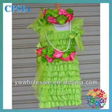 2014 Fashion Lime Green Vintage Baby Lace Dress Set Birthday Outfit Flower Girls Dress