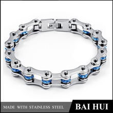 Baihui Jewelry-10MM Personalized Mens Bicycle Stainless Steel Link Chain Bracelet/Blue Zircon Inlaid