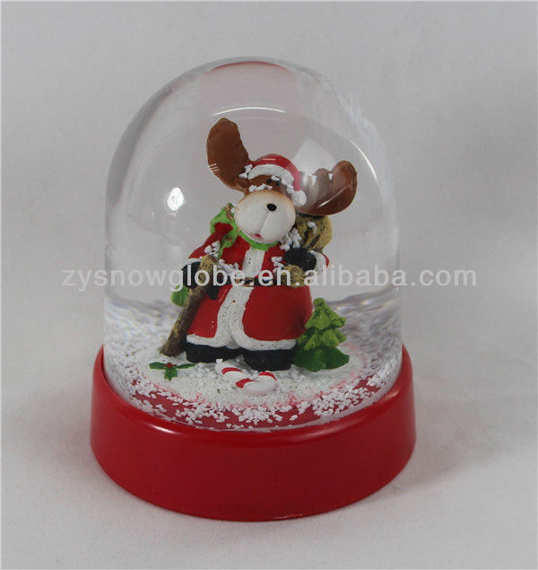 Plastic animal electric christmas snow globe