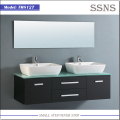 Double sink modern bathroom wall cabinet