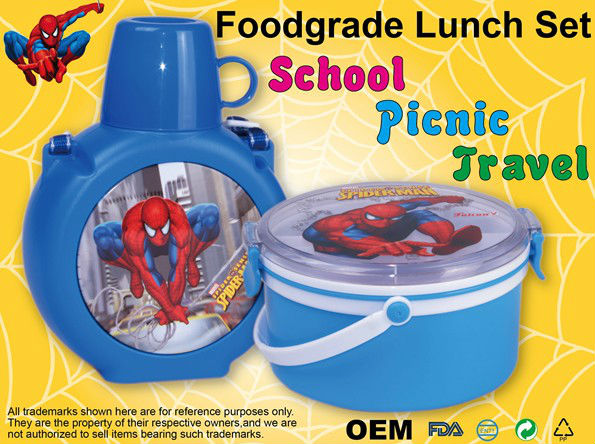 Foodgrade kids lunch set with OEM design lunch box and water bottle
