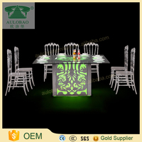 Aulobao wedding furniture dining table square shape curved pattern lighted table