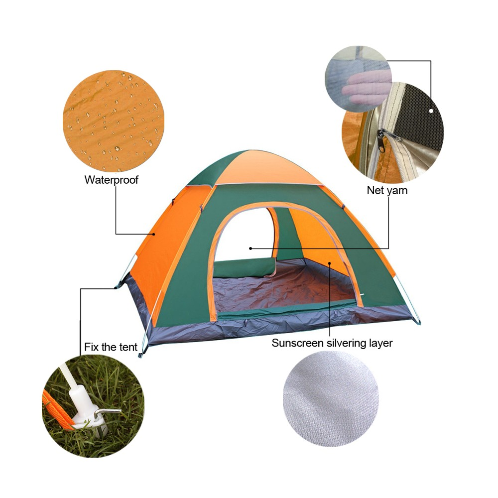 3-4 Persons Beach Tent Waterproof Ventilated Automatic Double Layer Instant Fast Camp Tent 200cm x 200cm x 135cm 8 Metal Stakes