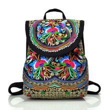 Wholesale Custom Vintage Boho Embroidery Waxed Canvas Backpack