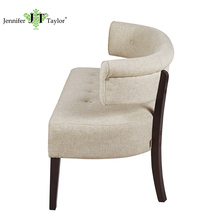 Home office furniture waiting room bench, elegant design linen fabric upholstery waiting sofa, solid wood legs relaxing settee
