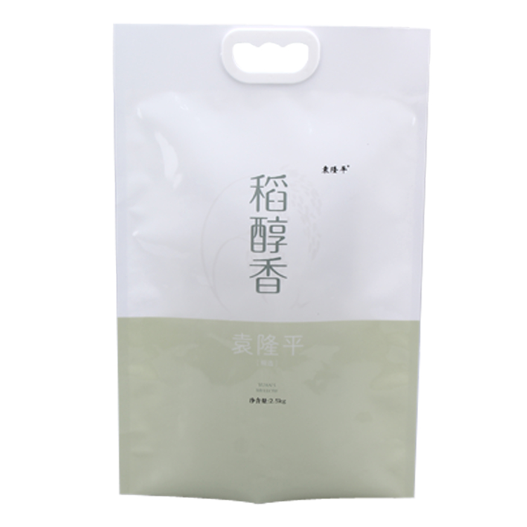 5kg Heat seal safe food grade plastic rice bag with handle