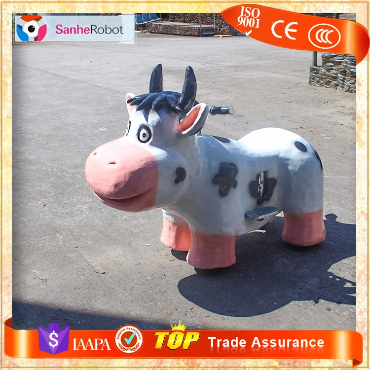 Handmade electric animatronic interactive cows animals kids ride on coin operated car