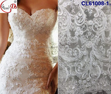 2017 Most Elegant Good Price White Bridal Lace Fabric Wedding Lace Tulle French Lace Fabric For Bride CL61008