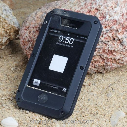 For iPhone 4 4S 5 5S Metal Gorilla Glass Extreme Waterproof Dirtproof Shockproof Aluminum Case Cover Retail Packaging