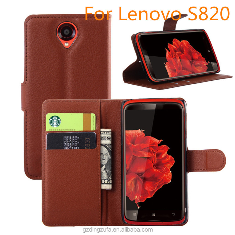 Free Sample Lichee Stripe PU Leather Wallet Mobile Phone Case For Lenovo S820