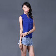 hot sale royal blue ladies open front blouse