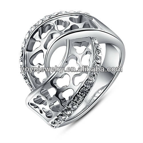 Hottest in 2013 Special Ring Super Quality High Polished 18k White Gold Plated Jewelry Ring