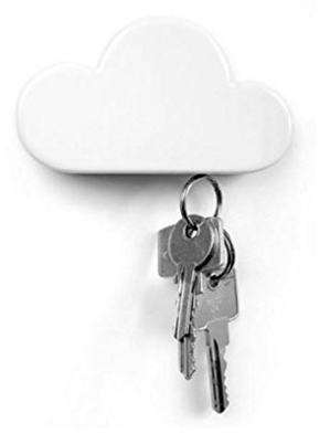 White Cloud Magnetic Wall Key Holder - Easy to Mount - Powerful Magnets Keep Keychains and Loose Keys Securely in Place
