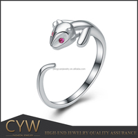 CYW 15mm Authentic 925 sterling silver cute kitten animal cz opening ring female model