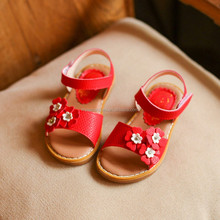 Size 26-30 Red Children Sandal Kid Shoes Princess Flower Flat Girls Shoe Wholesale 2017 Kids Leather Sandals For Girls