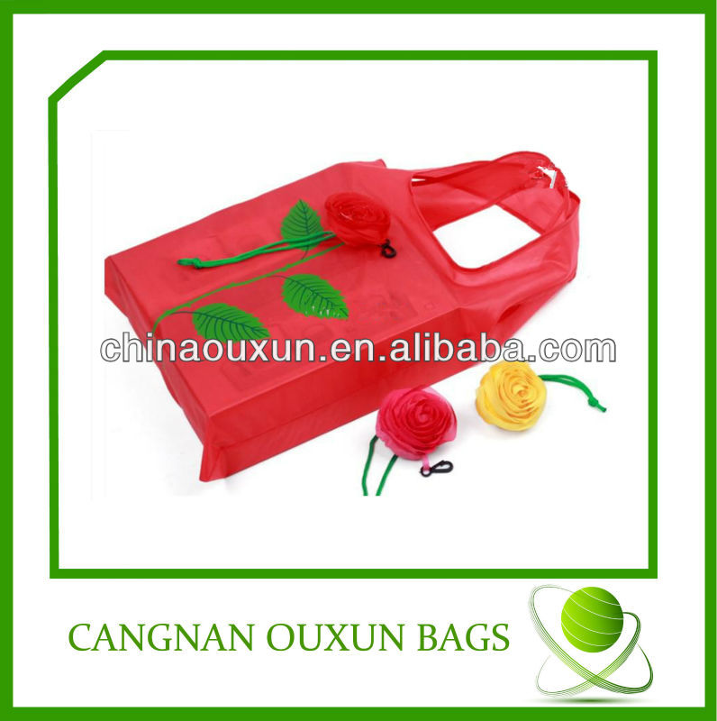 hottest eco-friendly nylon rose folding shopping bag