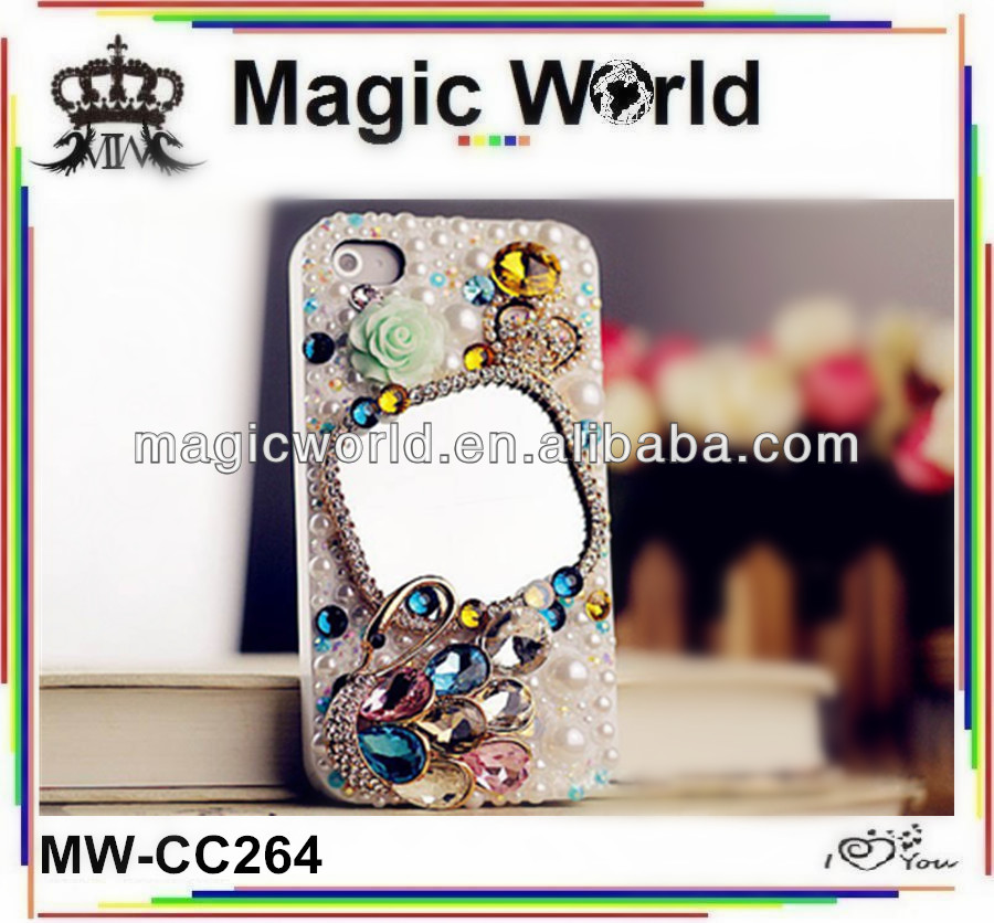 Swan mirror luxury phone covers,wholesale cellphone