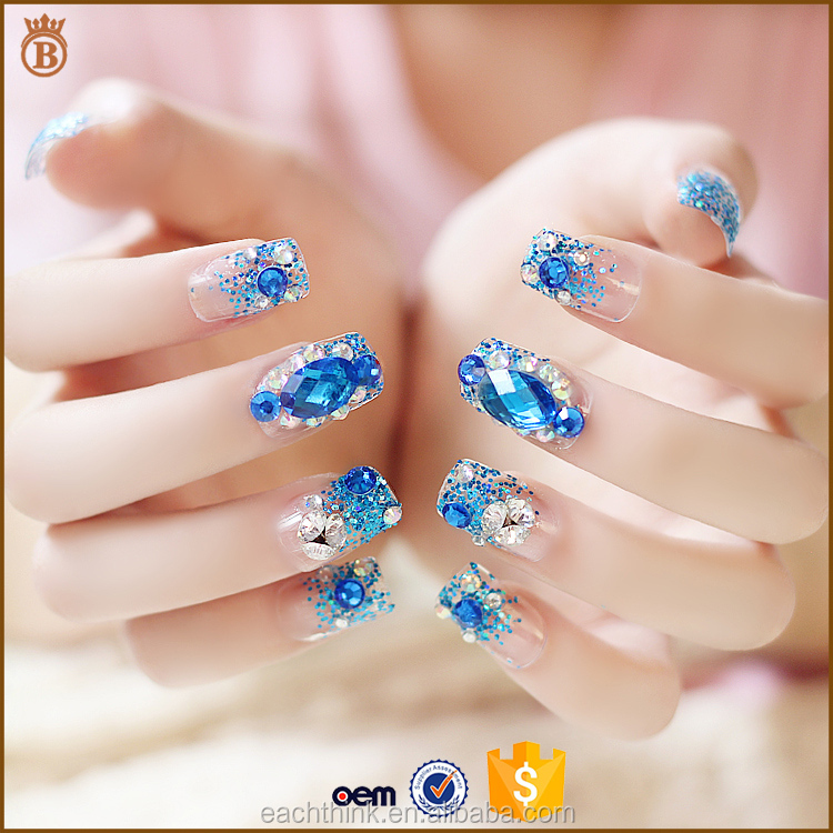 Nail art wholesale Fantasy fans blue Drill fake nails finished product