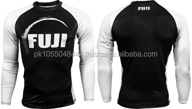 FUji printed Black and white good quality MMA Rash Guards in all colors and customization available