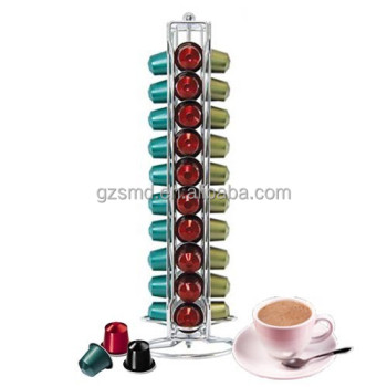 40 Capacity Rotating Chrome Wire Coffee Capsule Holder