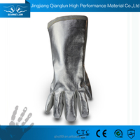 QL design welding long sleeve leather heat protective gloves
