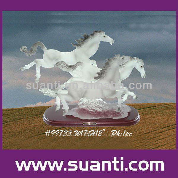 Polyresin white ceramic horse figurines home decoration