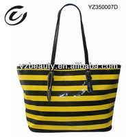Yellow Black Women Stripe Leather Bags 2013