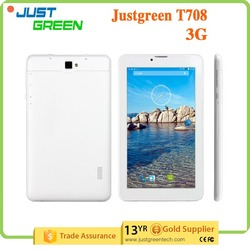 "New design Justgreen T708 7"" 1024*600 Phablet MTK8312 Dual Core 3G WCDMA 512MB/8GB android 4.4 Play store G-Sensor"