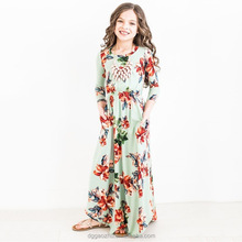 bohemian dress for kids floral maxi teenagers clothes girl princess long frock