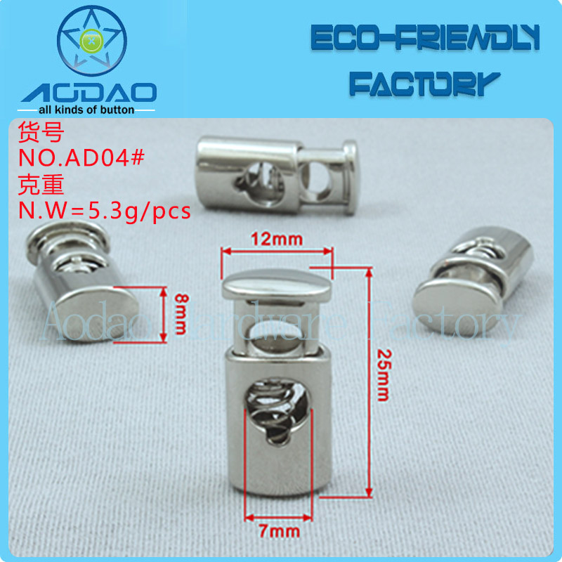 Factory supply garment accessories silver metal bell stopper and cord end