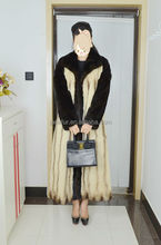 Fashion Style Mink Fur Coat For Women/black+Natural beige