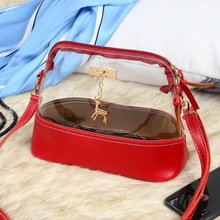 Fashion shell shapeTransparent PVC Lady Handbag PU Leather Crossbody Shoulder <strong>Bag</strong>