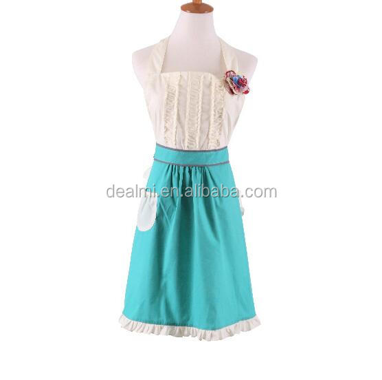 Wholesale Mother's Day Gift Ruffle Vintage Apron BBQ Cheap Flower Kids Apron