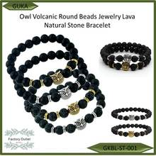 Owl Head Volcanic Matte Beads Jewelry Lava Natural Stone Bracelet
