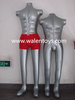 inflatable mannequin,Fashion Display PVC Silver Male Half Body Inflatable Mannequin Dummy Torso Model