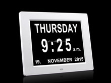 8 inch auto dimming dementia calendar clock with Non-Abbreviated Day & Month