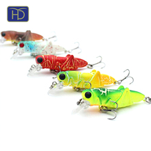 New style plastic artificial bait 5 colors fishing grasshopper lure