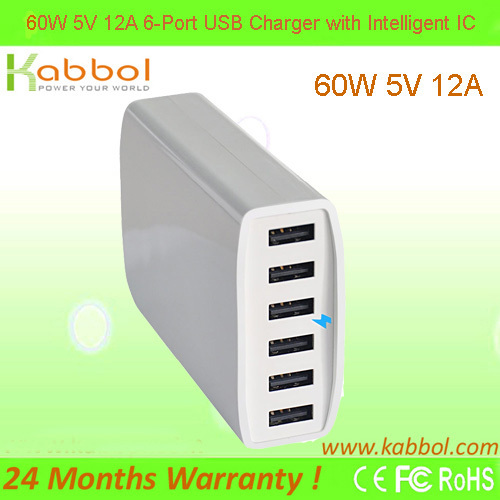 New Arrival!!! 60W 6-Port USB smart charger for mobile phone Samsung 9100, amsung Galaxy Tab, HTC Samsung Motorola Android Phone