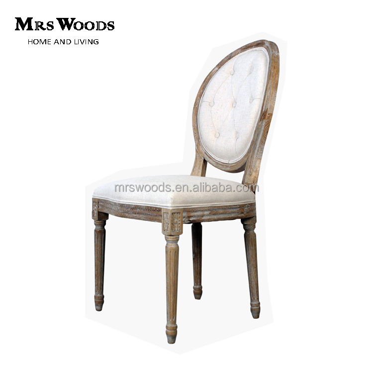 french style <strong>oak</strong> wood button tufted round back fabric dining chair