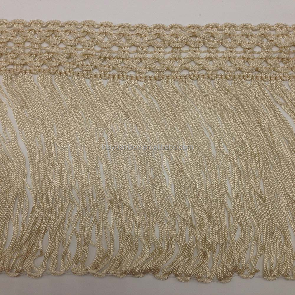 fashion vertical slip silk long viscose rayon chainette fringe
