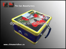metal lunch Tin case with handle