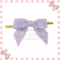 Newest design satin ribbon bow with Golden Twist Tie